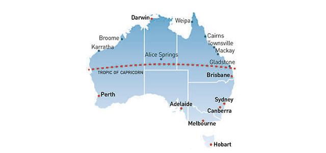 Australia Map Tropic Of Capricorn.Work And Holiday Visa 462 Second Year Visa In Northern Australia
