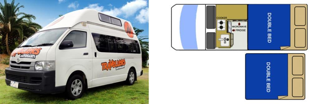 Campervan with children Travellers-autobarn 5 seats