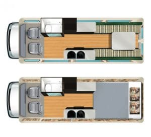 motorhome models 2-seater interior